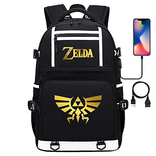 Juego Zelda Unisex Mochila de Viaje de Gran Capacidad para Senderismo Mochila Escolar Informal Mochila para portátil con USB 17 Pulgadas estilo-20
