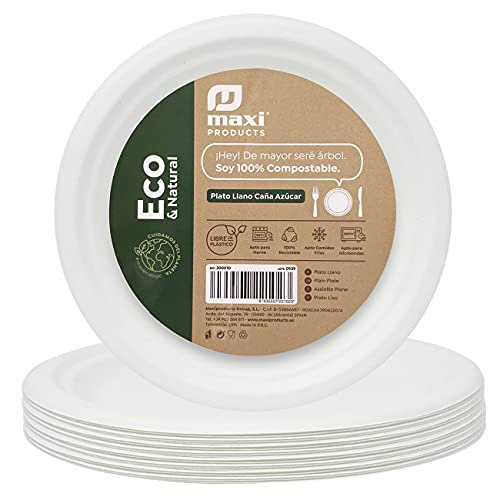 Eco Natural 50 Platos blancos Redondos de 26 cm. Fabricado con fibra natural Caña de Azúcar. Platos Desechables Extrafuertes. Reciclable, Biodegradables y Compostables. 100% Ecologicos