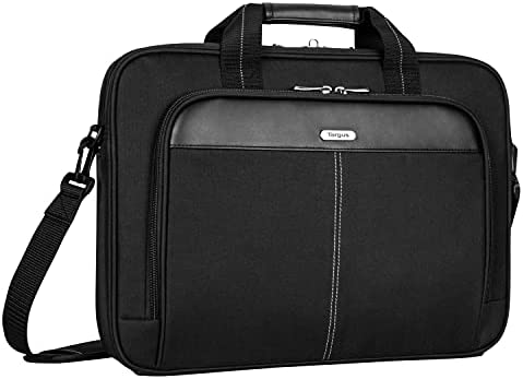 """Targus Classic Slim Briefcase with Crossbody Shoulder Bag Design for the Business Professional Travel Commuter and Laptop Protection fits up to 15-16"""" Laptops, Black (TCT027US)"""