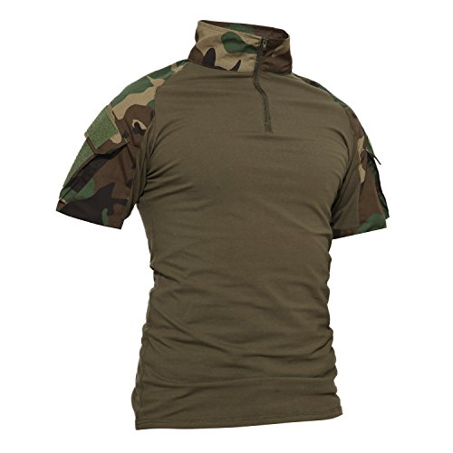 TACVASEN Tactical Military Men\'s T-Shirt Airsoft Combat Short Sleeve Shirt Woodland