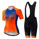 Maillot de ciclismo de manga corta y pantalones cortos acolchados tipo babero de verano para mujer - Naranja - etiqueta XL