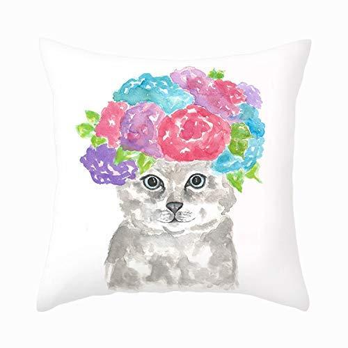 Precioso Gatito Gato con Sombrero Funda Almohada súper Suave Funda cojín Funda Almohada 18 '(Cat-H)