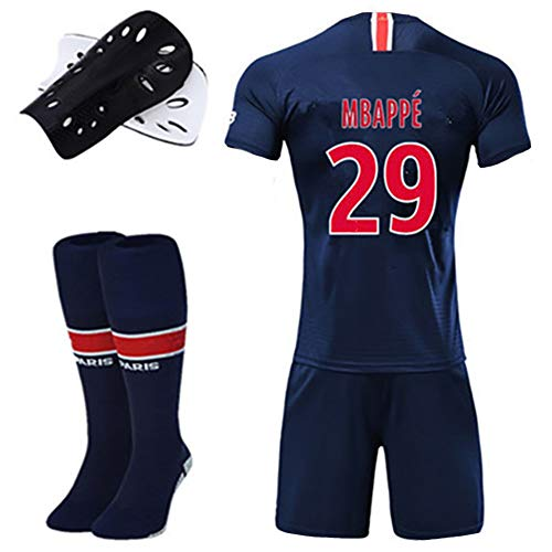Kinder Erwachsenen Fußball T-Shirt, Paris Trikot 18-19 Neymar JR Mbappe Cavani DI Maria, Fußballausrüstung, Westenset, Fußball Kurzarm T-Shirt, Polyester-29-26