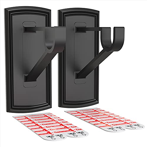 Stick Hang - No Drill Adhesive Curtain Rod Bracket - Easy & Damage Free Holders - No Tools Required (2 Pack, Black)