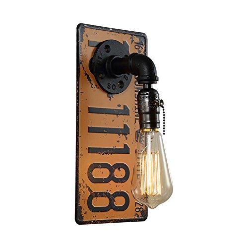 ZQFWZ Antik Industrielle Wandleuchte Fabriklampe in Gelb aus Eisen Shabby Nummernschild Wasserrohr Wandlampe mit Zipper Schalter Vintage Esszimmerlampe E27 bis 40W 220V für Bar CaféTreppe Gehweg H30cm