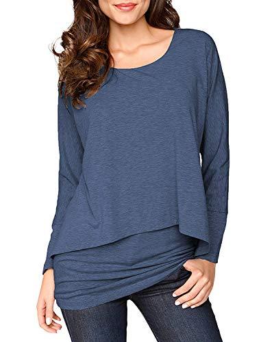 Uniquestyle Damen 2 in 1 Optik Langarmshirt Casual Tunkia Langarm Große Größen Longshirt Asymmetrisch Oberteil Top Shirt Blau XL