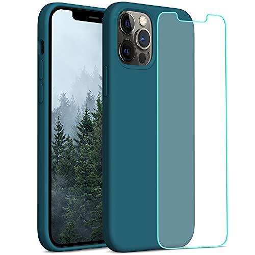 YATWIN Compatibile con iPhone 12 Cover 6,1'', Compatibile con iPhone 12 PRO Cover Silicone Liquido + Vetro Temperato, Protezione Completa del Corpo con Fodera in Microfibra, Verde Scuro