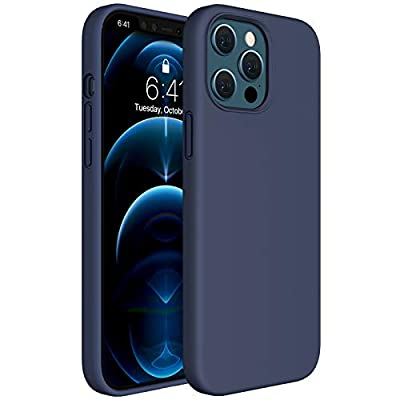 Miracase Compatible with iPhone 12 Pro Max Case 6.7 inch(2020 Release),Liquid Silicone Case Gel Rubber Full Body Protection Shockproof Drop Protection Case(Navy Blue)