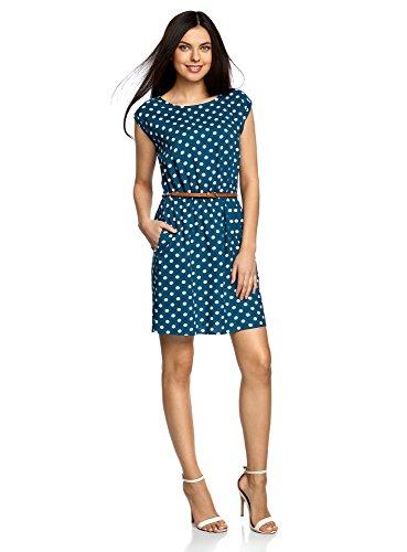 oodji Ultra Damen Ärmelloses Kleid aus Bedruckter Viskose, Blau, DE 36 / EU 38 / S