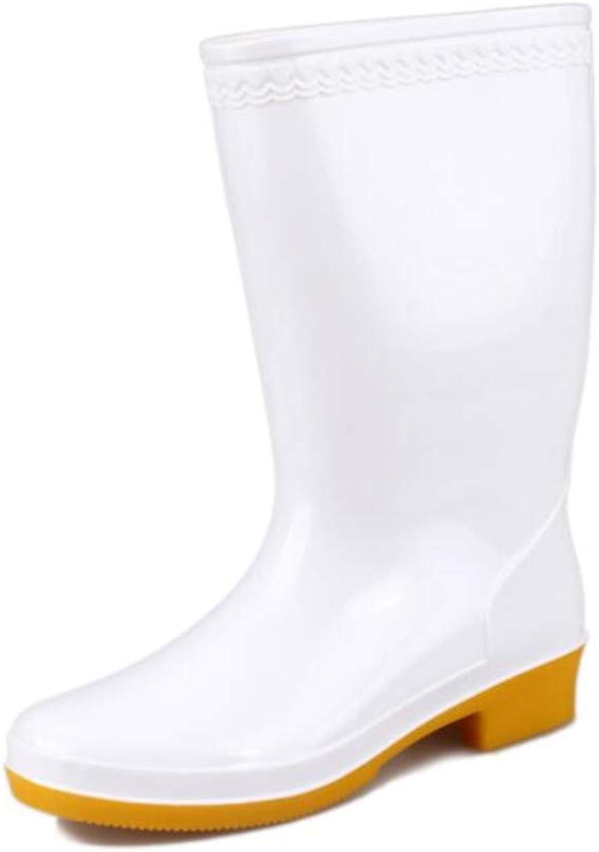 CHENSF Women's White Field Welly Rain Boot Mid Calf Short Rainboot