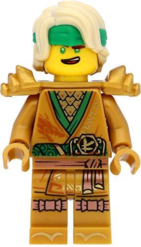 LEGO Ninjago - Minifigura de Lloyd dorada (edición 2021) con armadura de hombro y espadas