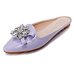 Rhinestone Mules Pointed Toe Slip On Purple Sandal