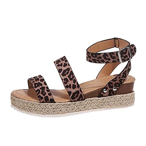 Eaylis Damen Muffin Heel Schnalle Sandalen Leopard Seil Muster Hanf Seil Slope Heel Damen Sandalen