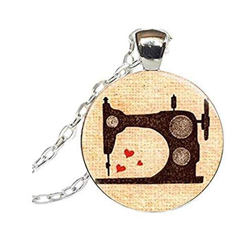 Fait à la main accessoires Vintage Machine à Coudre Bijoux Couturière Art Pendentif Verre Cabochon Collier Machine à Coudre Collier