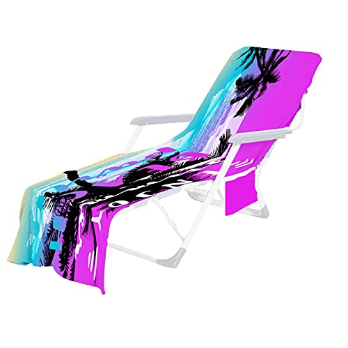 Waroom Funda para silla de playa suave, tumbona con bolsillos de almacenamiento, funda para chaise longue, fácil de transportar, no deslizante, secado rápido, material de microfibra