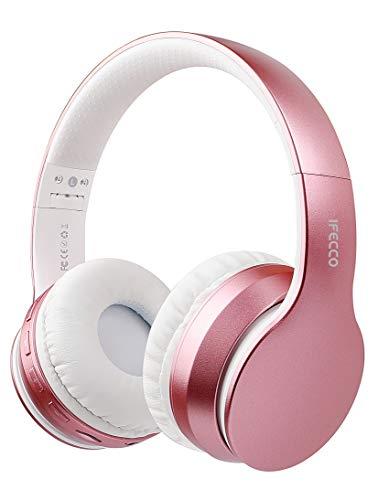 I love e iFecco Cuffie Bluetooth Over Ear, Pieghevoli Wireless Cuffie Stereo Headset Microfono Incorporato, Micro SD/TF, Cuffie TV Wireless Senza Fili per Telefono/PC, Oro Rosa