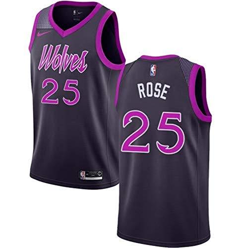Gflyme Herren Trikot NBA Derrick Rose, Basketballtrikot Minnesota Timberwolves, Schwarz Und Rosa, Urban Version, Neue bestickte Stoffe, Sportswear Style T-Shirts, (Color : Rosa/Nero, Size : XL)