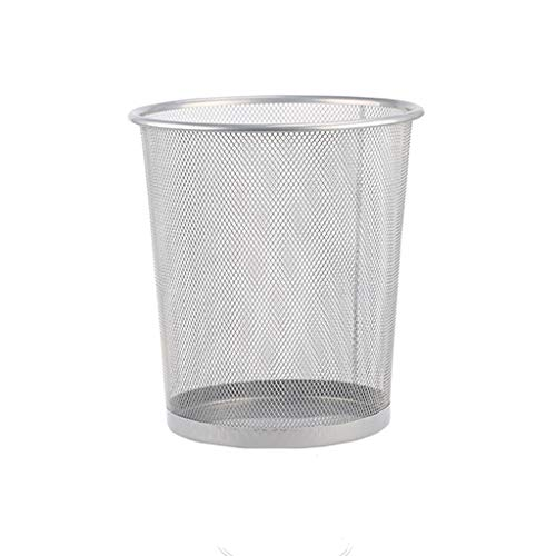 Zaza Bins Barbed Wire Trash Can Office Creative Nordic Uncovered Trash Can Simple Modern Home Large Hollow Paper Basket,12L/3.1 Gallon Decorative Urns (Color : Small silver)