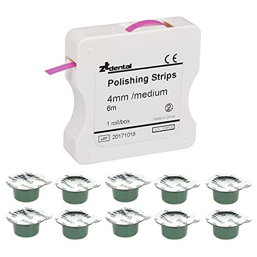 Montloxs Kit de pulido con sabor a menta, pasta y tiras para pulir los dientes, kit de pulido de dientes, herramienta de limpieza profunda, juego de cuidado de los dientes