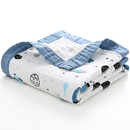 Jay & Ava Muslin Cotton Baby Blanket for Newborn & Toddler, 4 Layers, Soft, Hypoallergenic, Breathable Quilt, Stroller Blanket, Nursery & Crib Blanket, Shower & Registry Gift (Blue Space)
