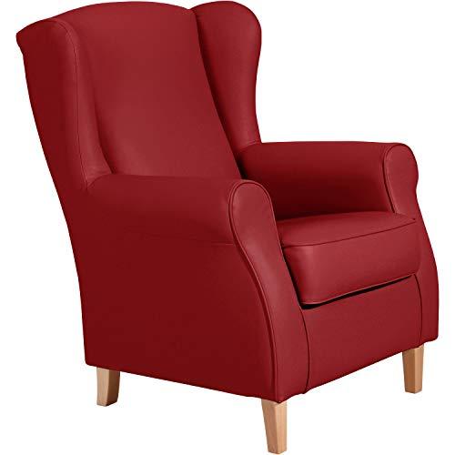 Max Winzer® Ohrensessel Lorris, chili (rot), Kunstleder, Retro, romantisch, Landhaus, 77 x 86 x 103 cm
