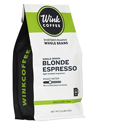 Wink Coffee Blonde Espresso, Whole Bean Coffee, 100% Arabica, Large 2.2 Pound Bag, Colombian Single Origin, Smooth, Light, and Complex, Sustainably Sourced