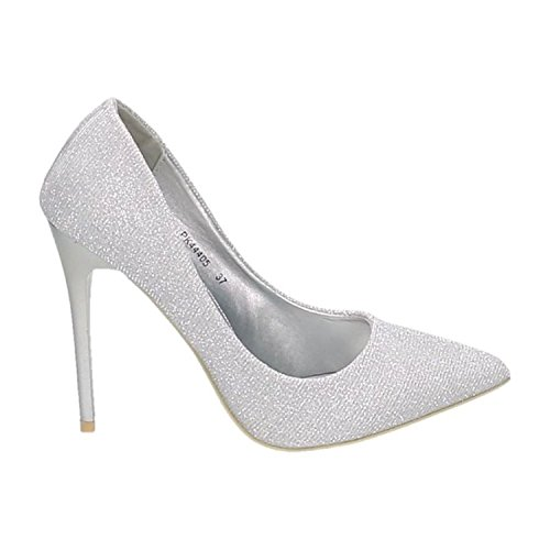 Klassische Damen Glitzer Stilettos Pumps High Heels Plateau Schuhe Spitz 44 (36, Silber)