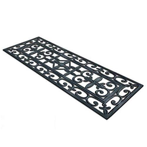 Floordirekt Gummi-Stufenmatten Colombo | Eisengitter-Optik | Wetterfest | Aus robustem Vollgummi | Strapazierfähiger Stufenschutz für Außen (25 x 75 cm)