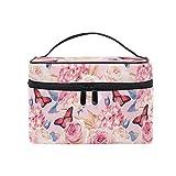 HaJie - Bolsa de maquillaje de gran capacidad, organizador de flores de rosas y hojas de mariposa, portátil, neceser de almacenamiento de cosméticos, bolsa de lavado para mujeres y niñas