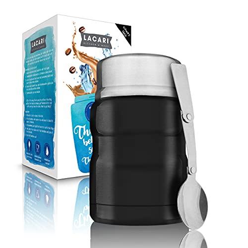 LACARI Thermos per cibo acciaio Inox nero | Bottiglia Thermos da 500ml in acciaio Inox | Thermos alimenti caldi | Box pranzo e Muesli asporto | Contenitore per alimenti senza BPA | Cucchiaio incluso
