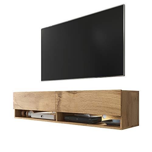 Selsey Wander - Mueble TV Suspendido/Mesa TV/Mueble para Salón (140 cm, con LED, Roble Dorado)