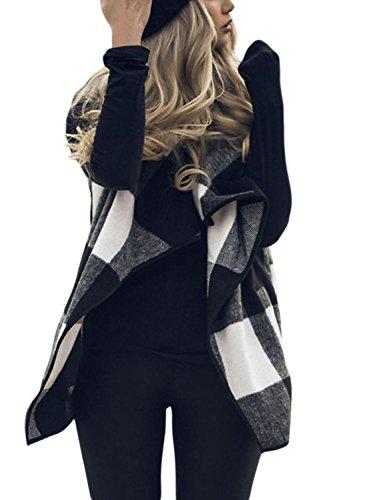 Chase Secret Womens Sleeveless Open Front Hem Plaid Vest Cardigan with Pocket XX-Large Black