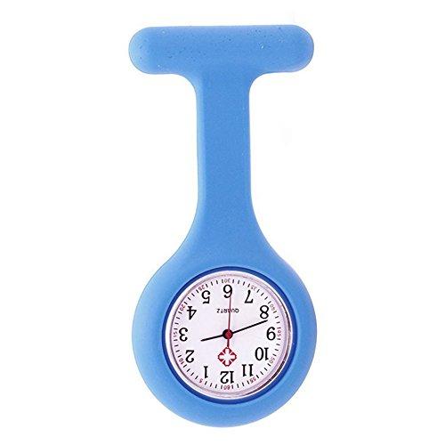 Orologio da infermiere con spilla in silicone, funziona con batterie, al quarzo, impermeabile blu