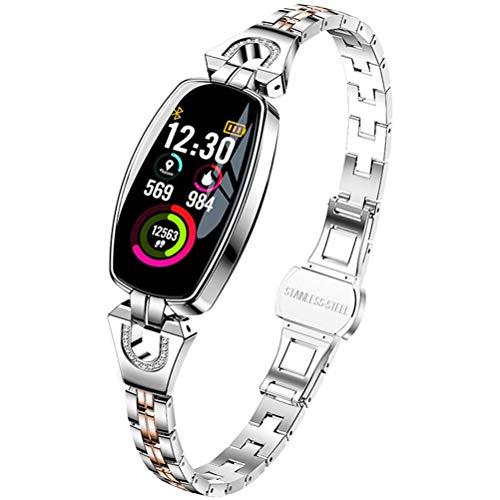 HJKPM Ladies Smartwatch, EKG Sports Bluetooth Smart Watch Mit Allwetter-ECG-PPG-HRV-Überwachungsfunktion Zum Verhindern Der Virusinfektion Und Verbesserung des Temperaments,Silber