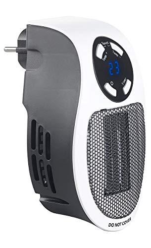 Sichler Haushaltsgeräte Steckdosenheizung: Steckdosen-Keramik-Heizlüfter mit Thermostat, Timer, Display, 500 Watt (Mini Heizlüfter mit Thermostat)