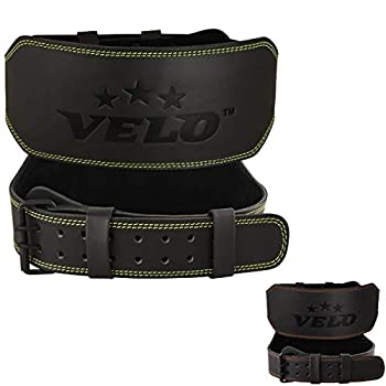VELO Power Weight Lifting Buffalo Hide 6  Leather Belt Gym Back Support Strap Training Fitness Exercise for Tough Workouts | Power Lifters | Supports Lumber Lower Back  Black-Green XXL