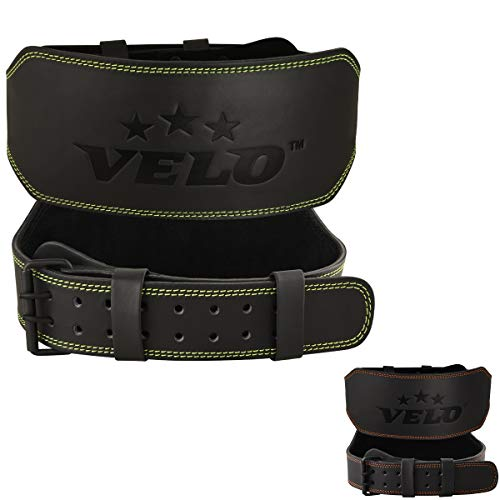 VELO Power Weight Lifting Buffalo Hide 6' Leather Belt Gym Back Support Strap Training Fitness Exercise for Tough Workouts | Power Lifters | Supports Lumber Lower Back (Black-Green, XL)