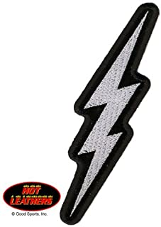 Hot Leathers, SILVER LIGHTENING BOLT, Iron-On / Saw-On Rayon PATCH - 2