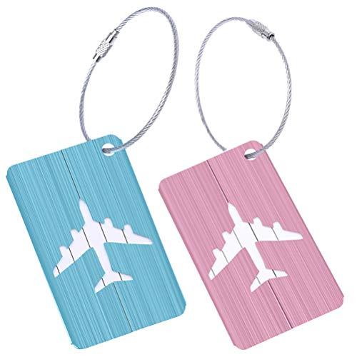 Etiquetas de bagagem de alumínio Lioobo multicoloridas etiquetas de identificação de viagem etiqueta de bagagem para mala de viagem padrão avião 2 peças