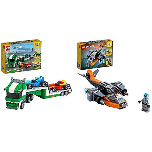 LEGOCreator3in1TrasportatorediAutodaCorsaconRimorchio,GruERimorchiatore,CostruzioniBERBambini & Creator3in1Cyber-Drone,Cyber-Mech,Cyber-Scooter