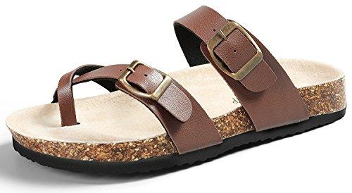 SANDALUP Pantoletten Damen Zehentrenner Sandalen Sommer Schuhe Brown 38