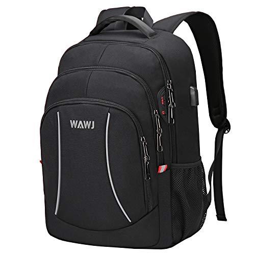 Laptop Rucksack, Schulrucksack Notebook Passen, WAWJ Schwarz Laptoptasche mit USB Ladeanschluss, Laptop Daypack Wasserdicht für Männer