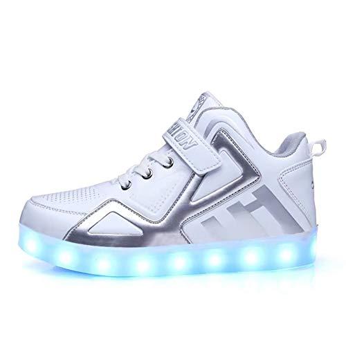 YISHIO LED-Kinderschuhe, Kinderschuhe Leucht-7 Farbe USB aufladbare Herren- und Damenschuhe weiß Studenten Alter geeignet Kinderkleidung (7-12 Jahre) (Color : A:White, Size : 34)