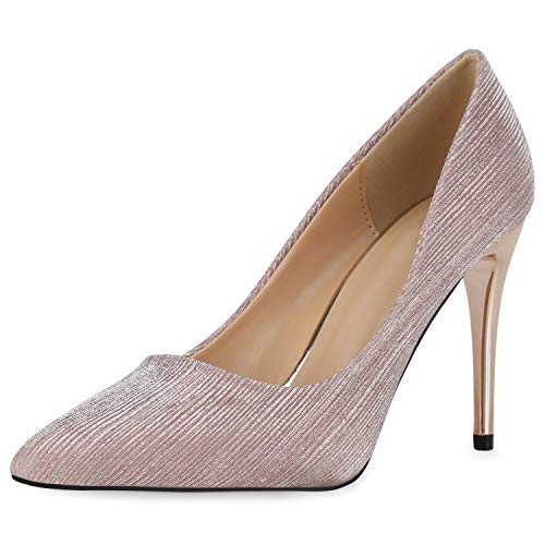 SCARPE VITA Damen Pumps Spitze High Heels Metallic Party Schuhe Glitzer Absatzschuhe Stiletto Abendschuhe 190487 Rosa Gold 38