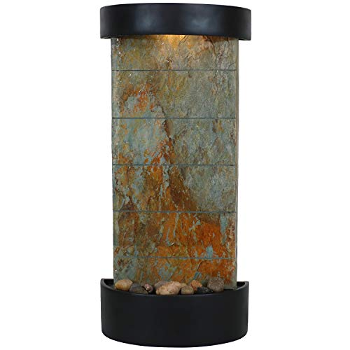 Sunnydaze 25-Inch Slate Facade Indoor Wall or Tabletop Water Fountain with Black Finished Frame and LED Light - Interior Cascading Waterfall Feature - Decorative Accent for Home or Office