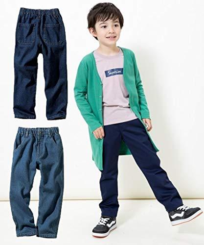 [nissen(ニッセン)] ボーイズ ゆったりキッズ ボトムス 【もっとゆったりサイズ】綿100%デニムストレートパンツ2枚組(男の子・女の子 子供服・ジュニア服) ブルー+ネイビー 140E