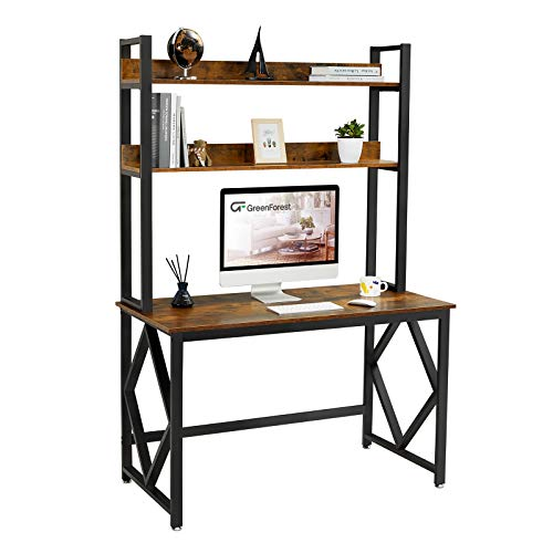 GreenForest Computer Desk with Hutch and Bookshelf 47 inches Study Writing Desk for Home and Office PC Laptop Workstation Rustic Brown