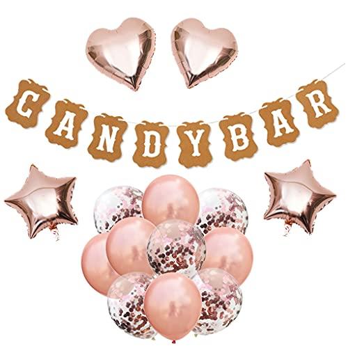 Candybar - Guirnalda de banderines de papel para decoración de pasteles y bares, color oro rosa