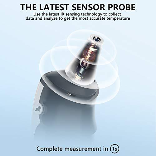 Termometro Professionale per Febbre Termometro frontale orecchio, Digitale infrarossi Termometro Frontale Display LCD con Funzione di Memoria per Adulti, Neonati, Bambini