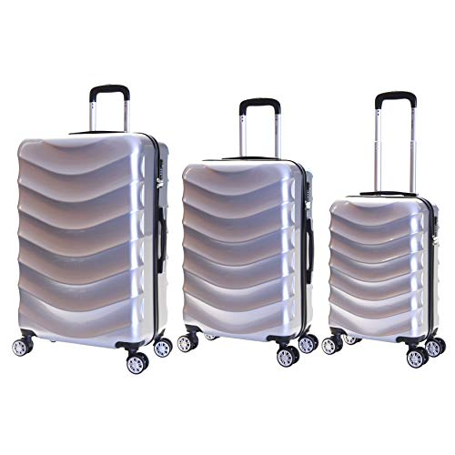 Karabar Set of 3 Hard Polycarbionate PC Suitcases Luggage Bags Small Carry-on Cabin, Medium and Large ABS Shell Sets with 4 Spinner Wheels and Integrated TSA Number Lock, Ripple Silver